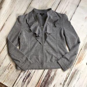 GNW Zip Up Sweatshirt Jacket w/ Ruffle Gray Large